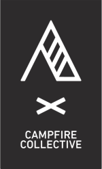 Campfire Collective tent outline and campfire on a solid background