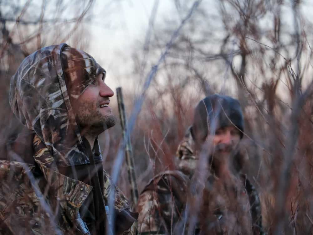 Three hunters in a wooded area
