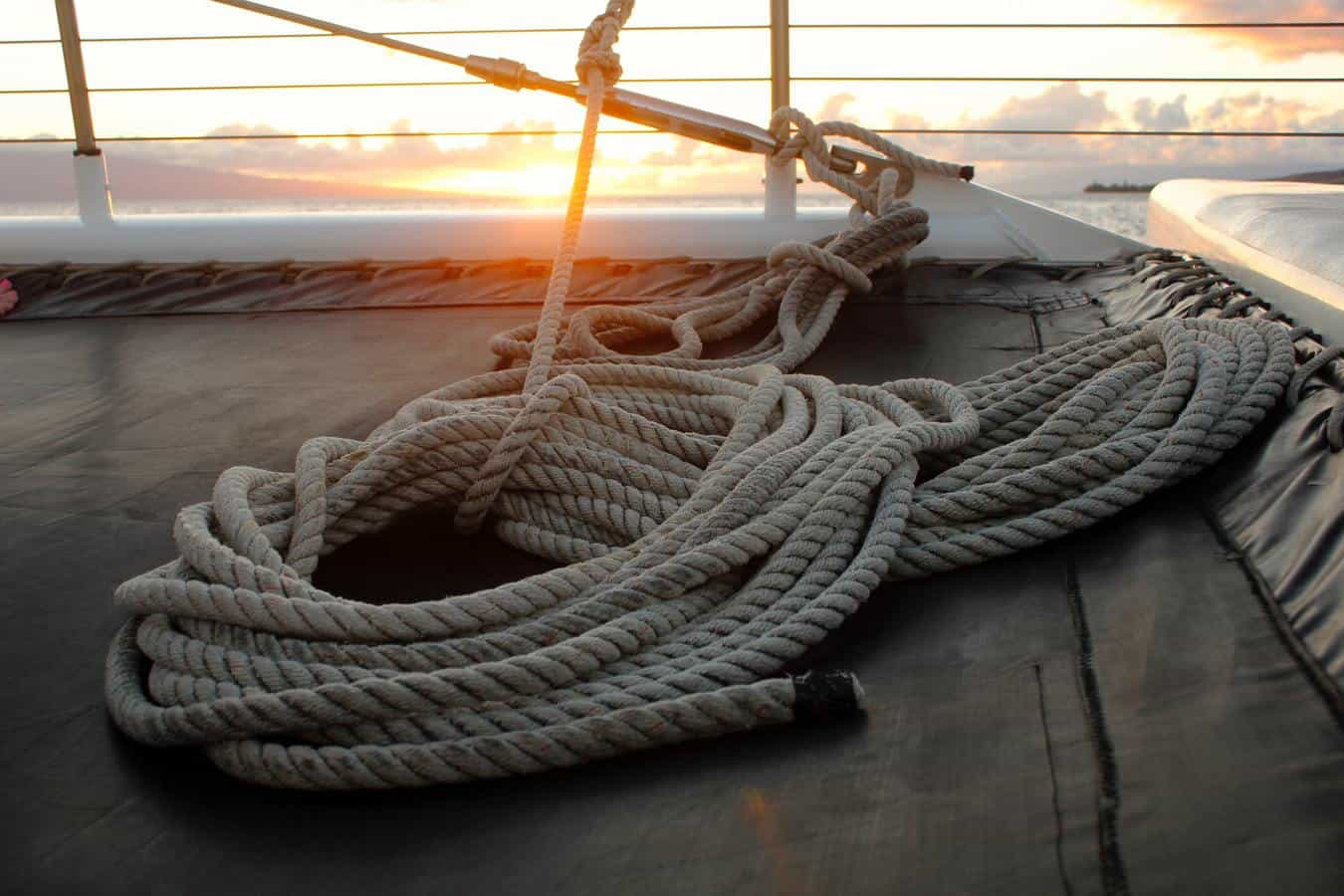 Rope at the bow of a boat