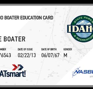 BOATsmart! Idaho boater education card with NASBLA approved badge.