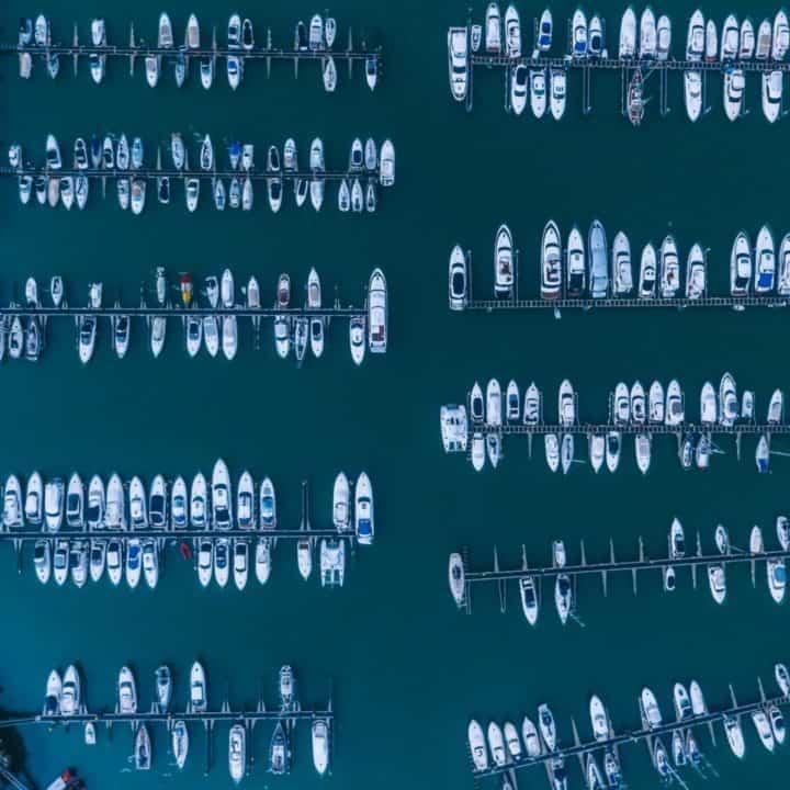 birds eye view of boating marina