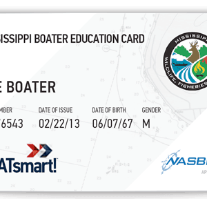 BOATsmart! Mississippi boater education card with NASBLA approved logo.