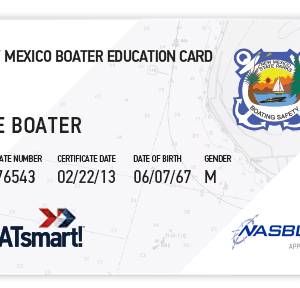 BOATsmart! New Mexico boater education card with NASBLA approved logo.