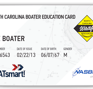 BOATsmart! North Carolina boater education card with NASBLA approved logo.