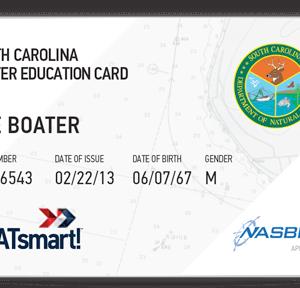 BOATsmart! South Carolina boater education card with NASBLA approved logo.