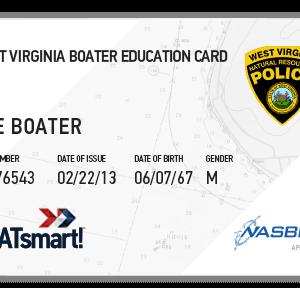 BOATsmart! West Virginia boater education card with NASBLA approved logo.