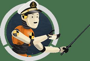 BOATsmart! Crash Test Captain holding teaching pointer.