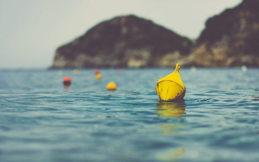 Hazard buoys floating close to shore on a lake.