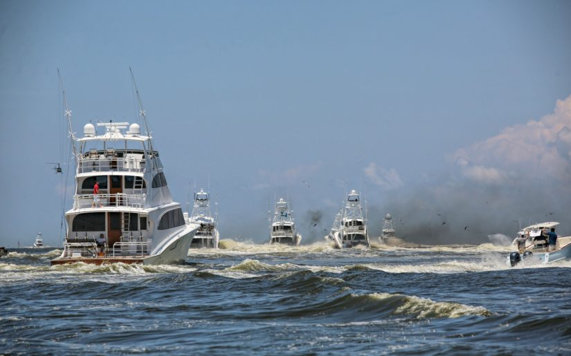 Chartered fishing boat experiencing mechanical failure during fishing derby.