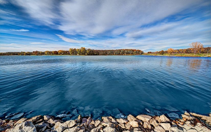View from the shore of a Kansas lake.