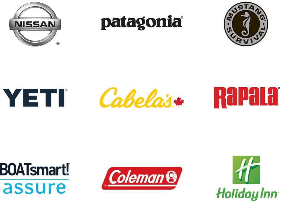 logos of campfire collective partners, nissan, patagonia, mustang survival, yeti, cabelas, rapala, coleman, holiday inn