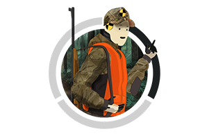 An image of the crash test captian in hunting clothes